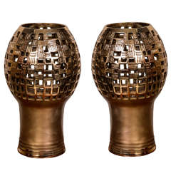 Pair of Bronze Table Lamps by Robert Phandeve