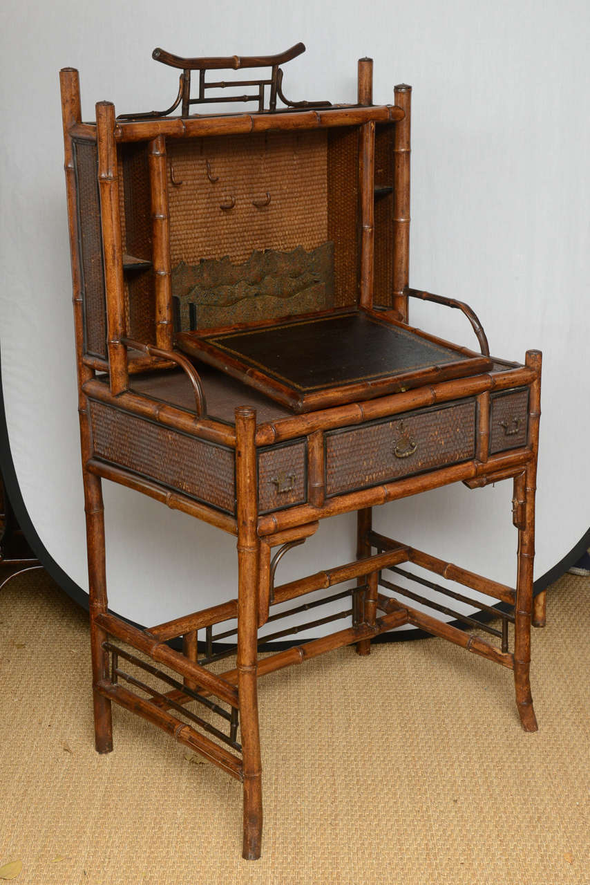 19th Century English Bamboo Flip Flop Desk In Good Condition For Sale In West Palm Beach, FL