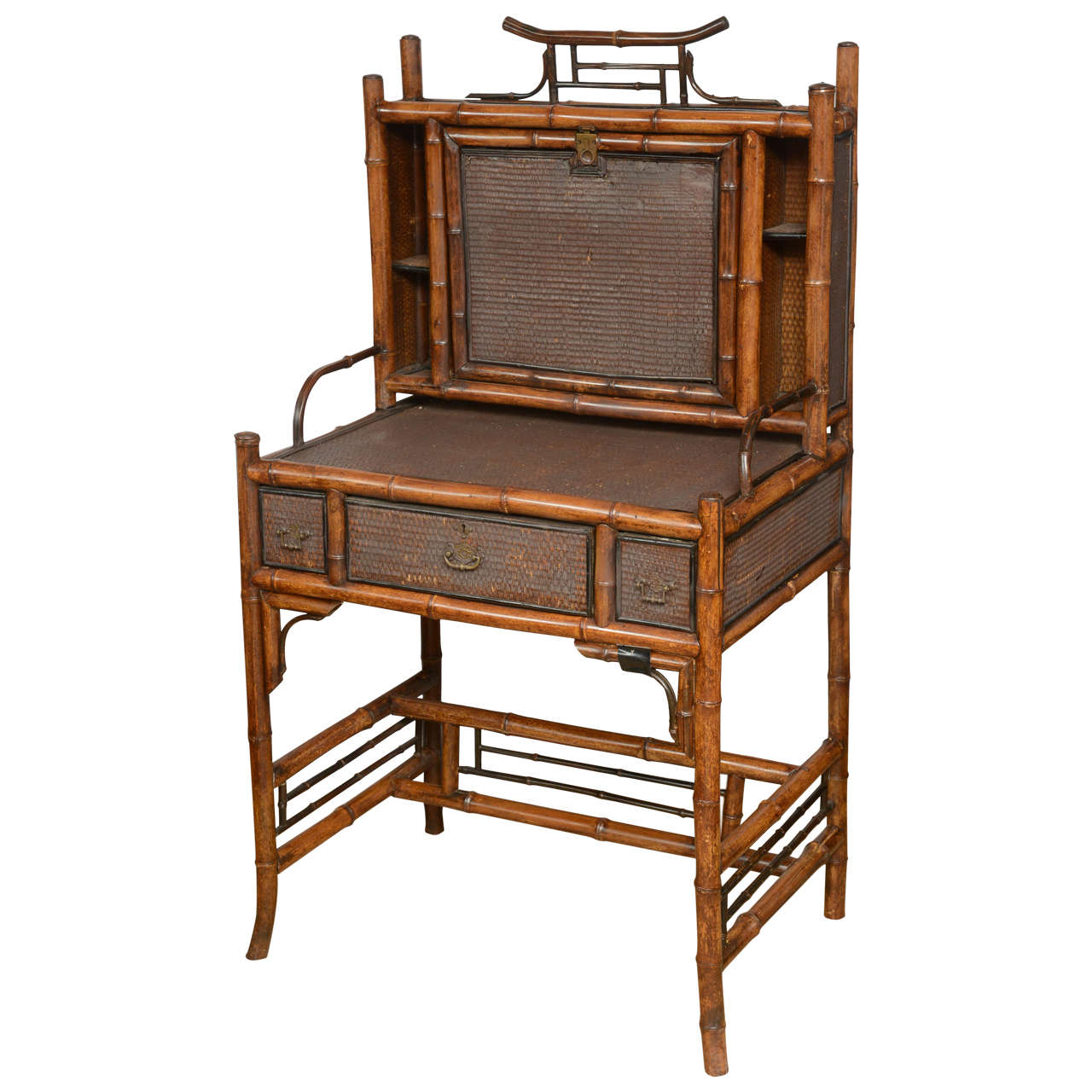 19th Century English Bamboo Flip Flop Desk For Sale