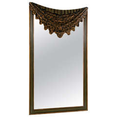 Dorothy Draper Style Drapey Form Mirror Highly Decorative Hand Painted Rosettes
