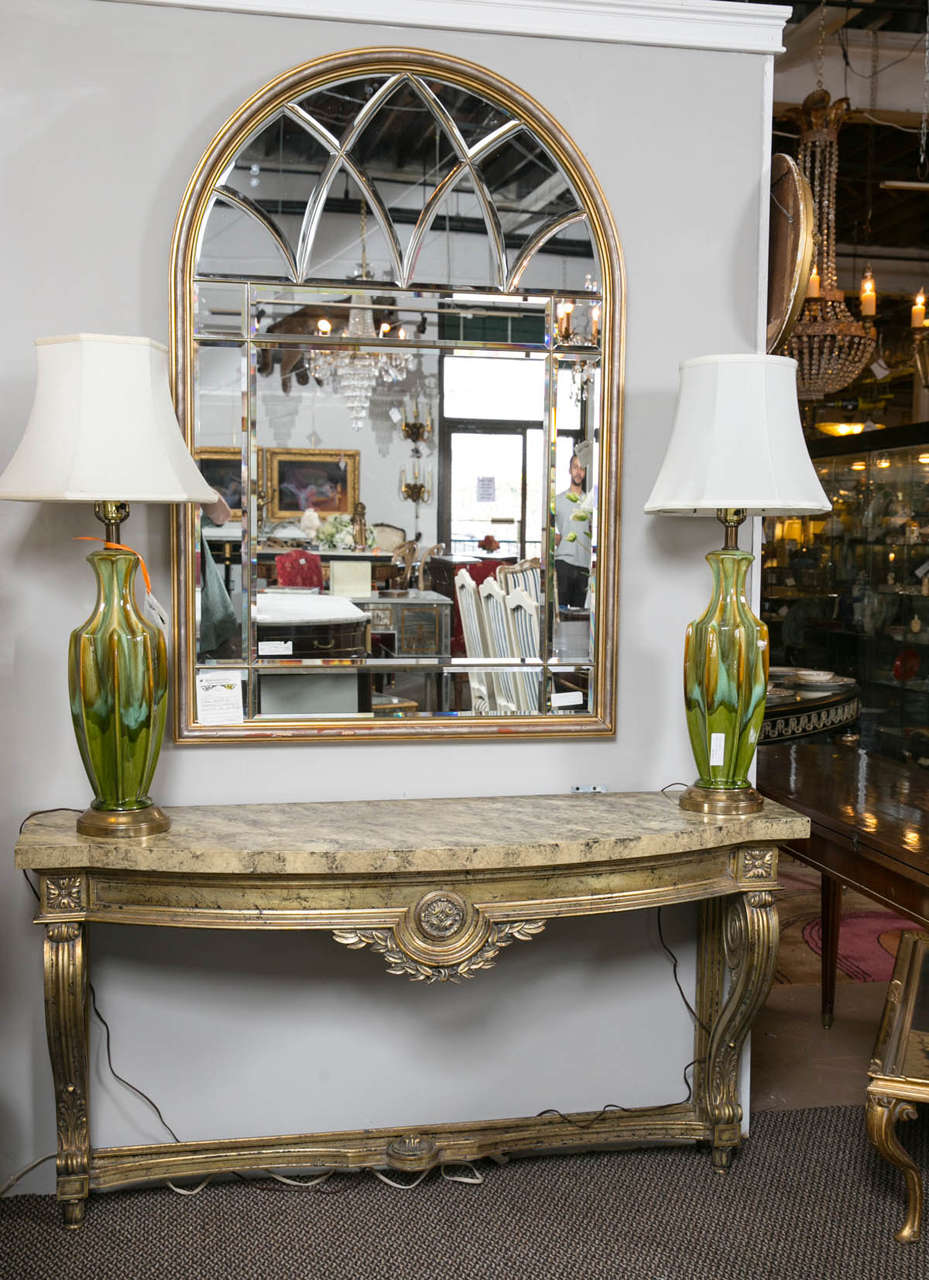 Hollywood Regency Faux Marble-Top Louis XV Style Console Table Attributed to Maison Jansen For Sale