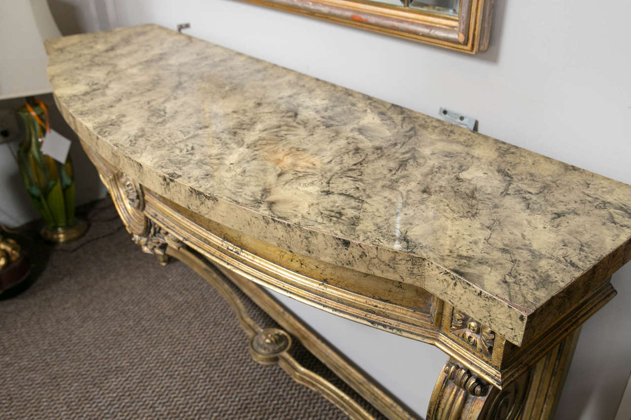 Faux Marble-Top Louis XV Style Console Table Attributed to Maison Jansen In Good Condition For Sale In Stamford, CT