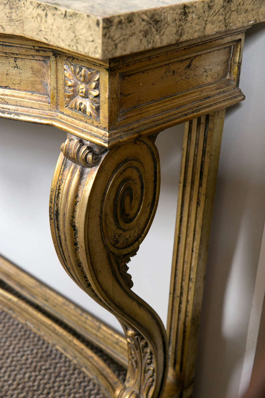 20th Century Faux Marble-Top Louis XV Style Console Table Attributed to Maison Jansen For Sale