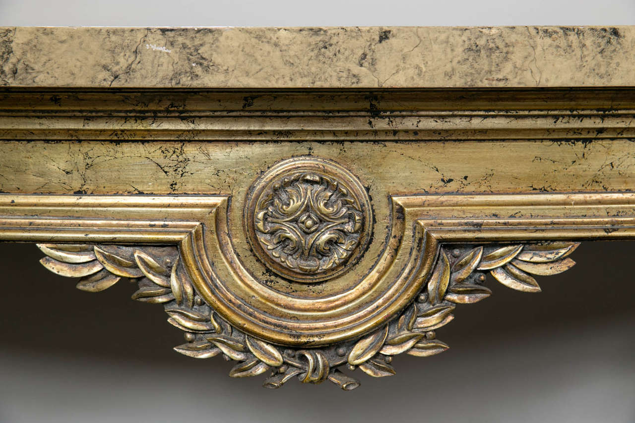 Faux Marble-Top Louis XV Style Console Table Attributed to Maison Jansen For Sale 1
