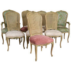 Set of Eight Louis XV Style Paint Decorated Dining Chairs