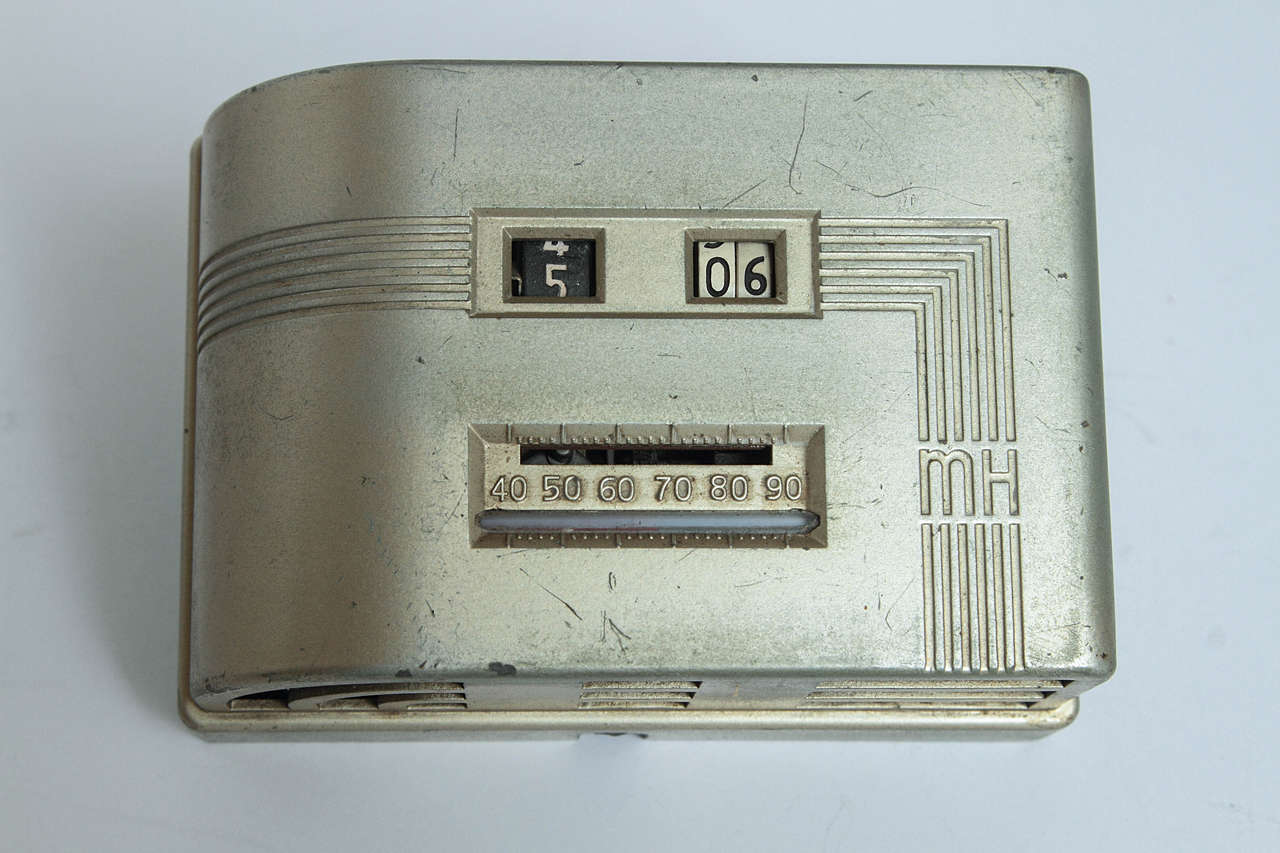 Machine Age Art Deco Industrial Design Patented Henry Dreyfuss Thermostats Vintage Original  Includes the iconic round T-86 Honeywell button, designed in 1956, (USD176657S) in many Museum permanent collections and the rarest early streamline digital