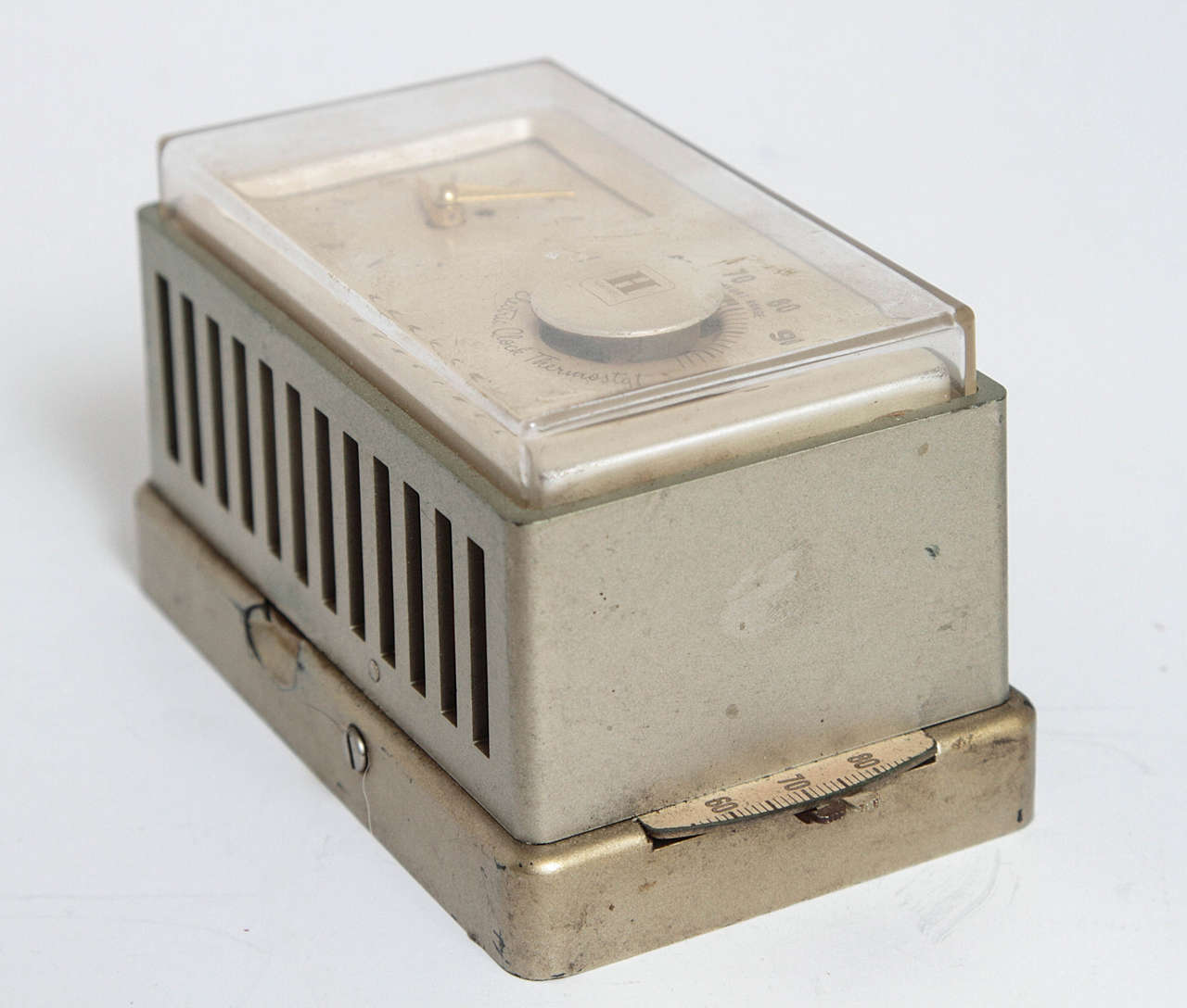 Mid-20th Century Machine Age Art Deco Industrial Design Patented Henry Dreyfuss Thermostats For Sale