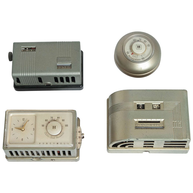 Machine Age Art Deco Industrial Design Patented Henry Dreyfuss Thermostats For Sale