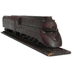 Machine Age Art Deco Raymond Loewy Hand Carved PRR Streamliner Train Model