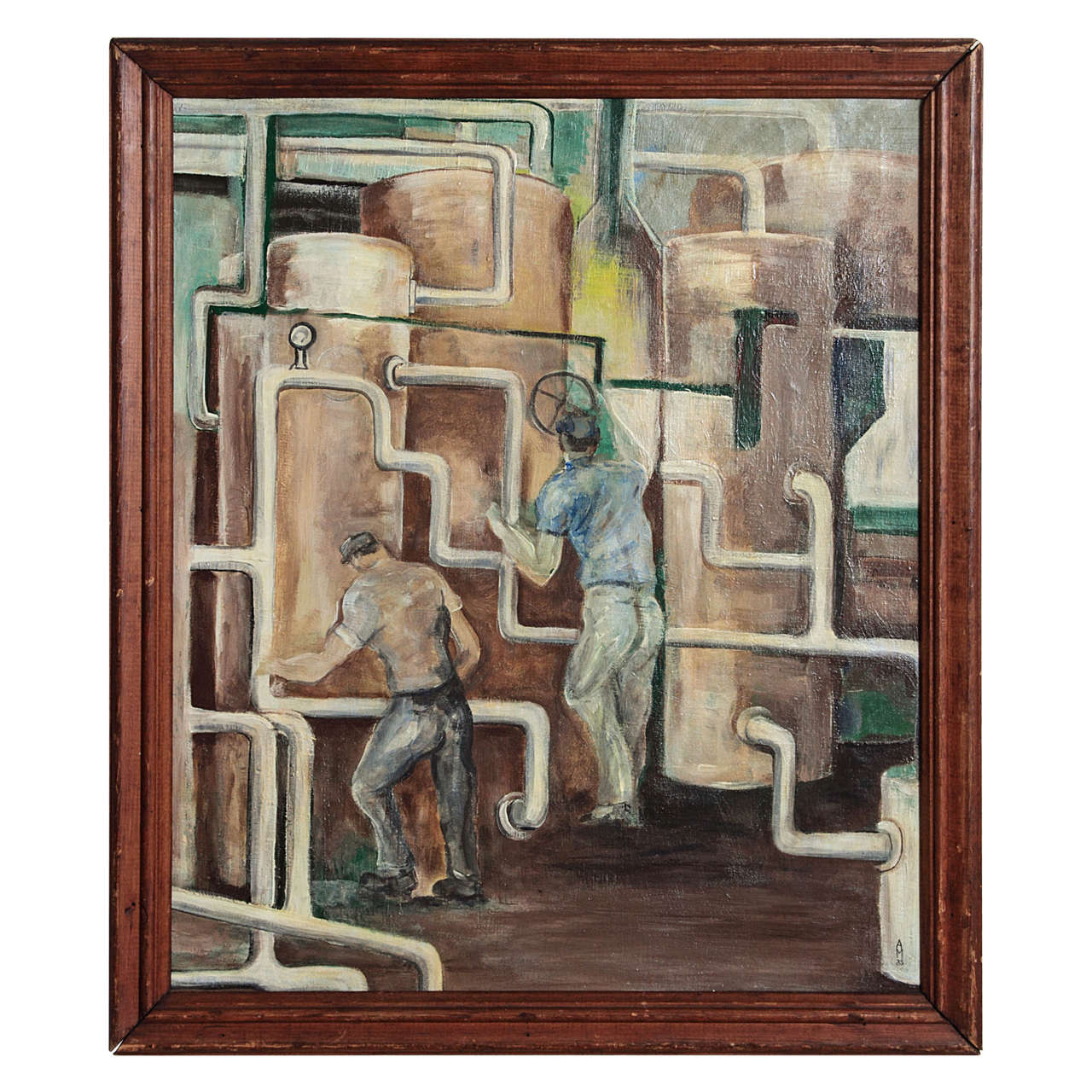 1933 Signed WPA Style Boiler Room Study Oil on Canvas