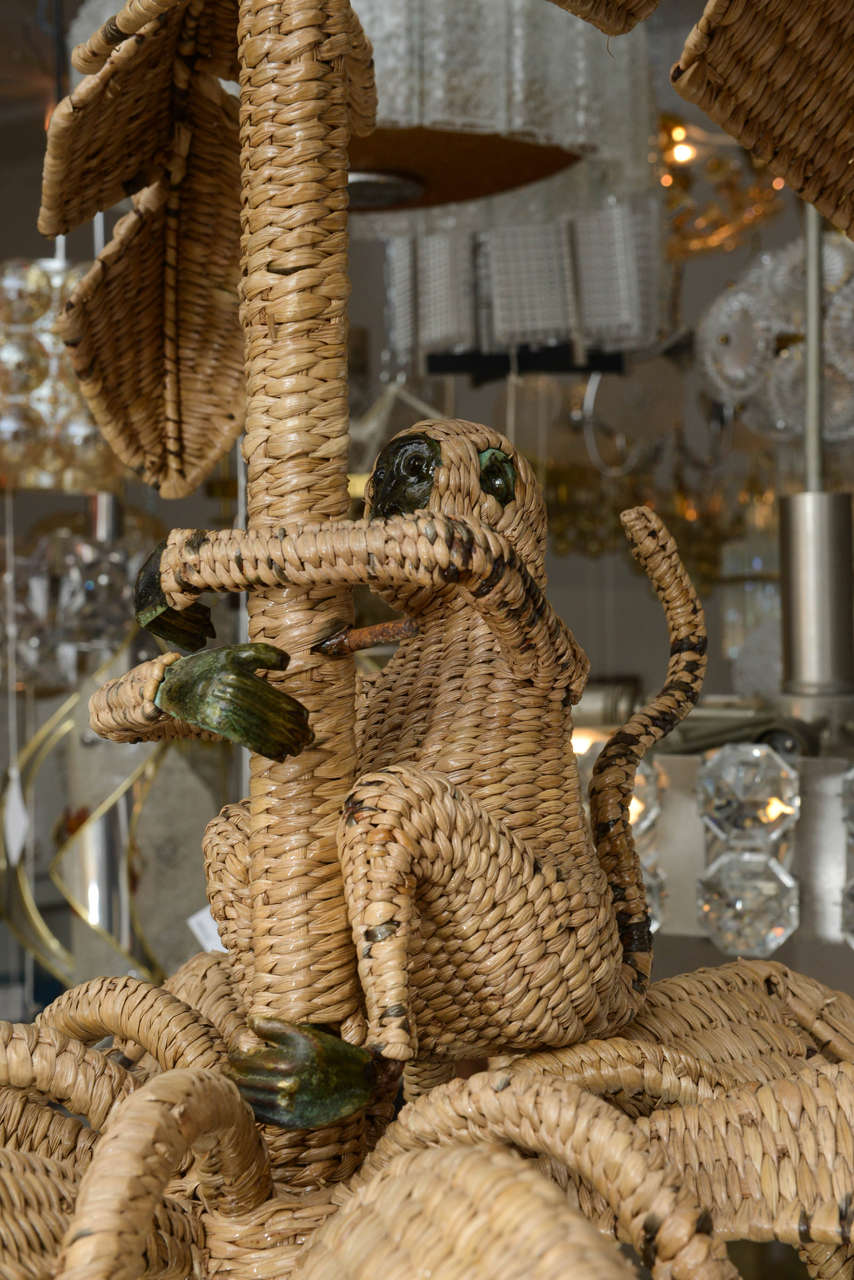 Whimsical Wicker And Mixed Metal Monkey Chandelier By