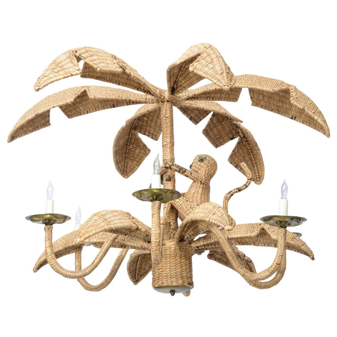 Monkey Chandelier Whimsical Wicker And Mixed Metal By
