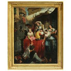 19th Century German School, Painting Depicting Roman Carnival, Oil on Canvas