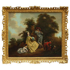 Circle of Philippe Mercier, Pastoral Scene with Music Couple in a Landscape
