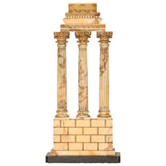 Italian Grand Tour Giallo Antico marble model of the temple of Castor and Pollux