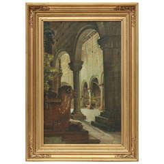 19th Century European School, Painting Depicting a Church Interior, Oil on Panel
