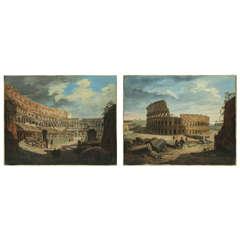 18th Century Italian painter, Views of the Roman Colosseum (pair), oil on canvas