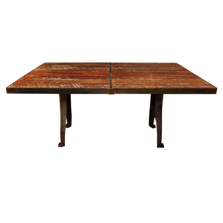 expandable industrial dining table at 1stdibs