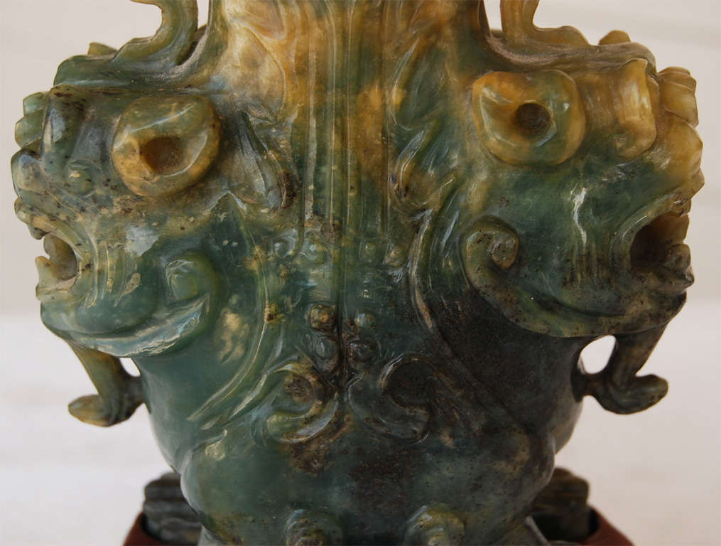 A Fine Late 19th or Early 20th C.  Carved Jade Urn In Excellent Condition For Sale In Hudson, NY