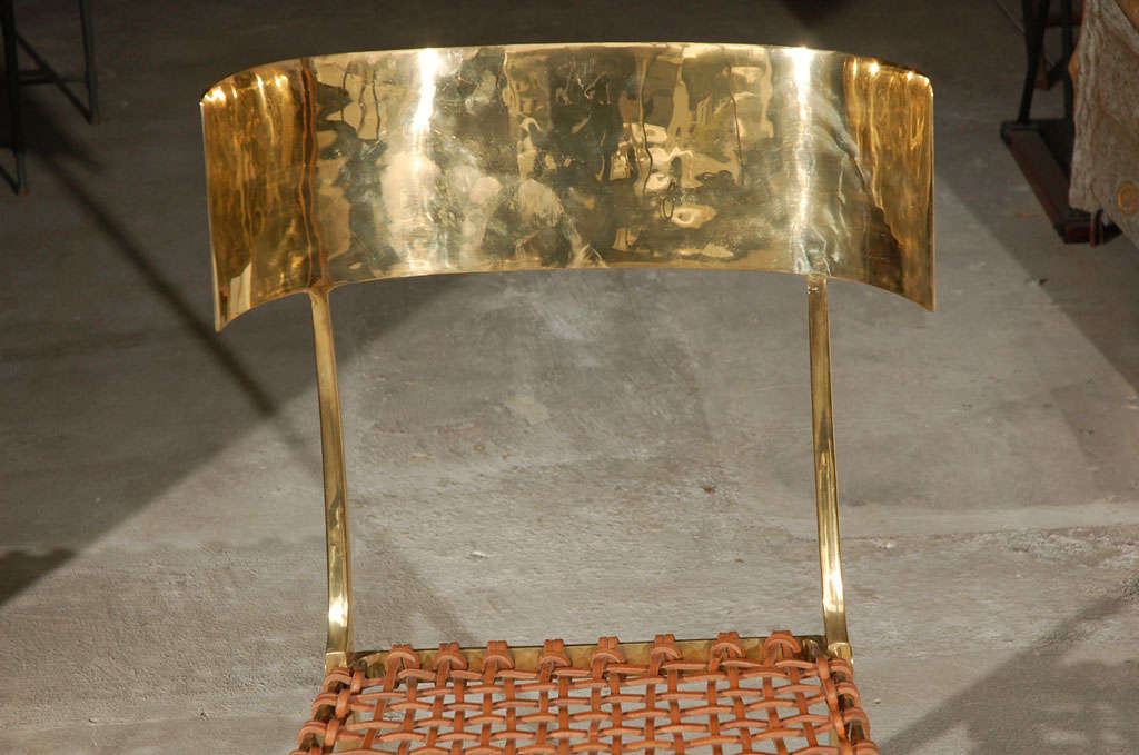 Contemporary Brass Klismos Style Chairs For Sale