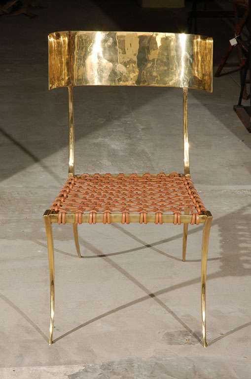 Brass Klismos Style Chairs For Sale 1