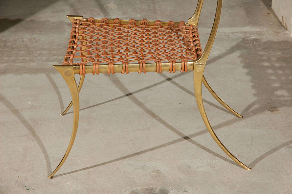 Brass Klismos Style Chairs For Sale 3