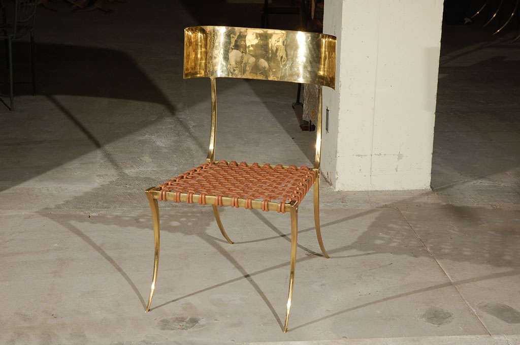 Set of 6 Brass Klismos Style Chairs with Woven Leather Seats