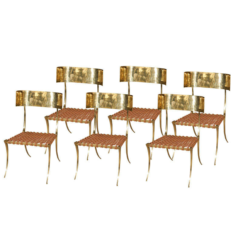 Brass Klismos Style Chairs For Sale