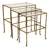 Set of 3 Mid Century Brass & Glass Faux Bamboo Nesting Tables