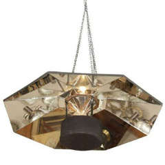 Large Mid Century Octagonal Mirrored Hanging Light Fixture