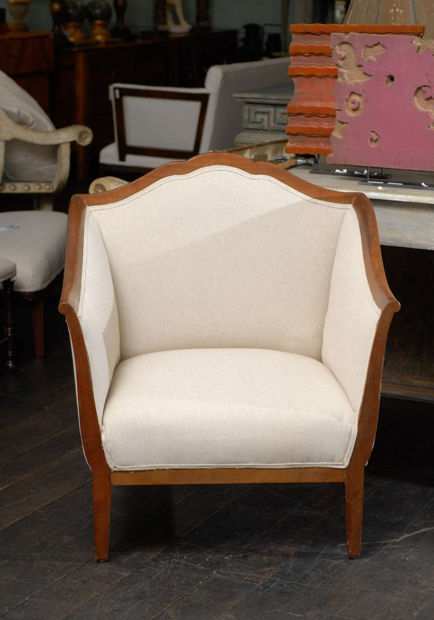 Single Italian Walnut Upholstered Club Armchair/Accent Chair in Brown and White 10