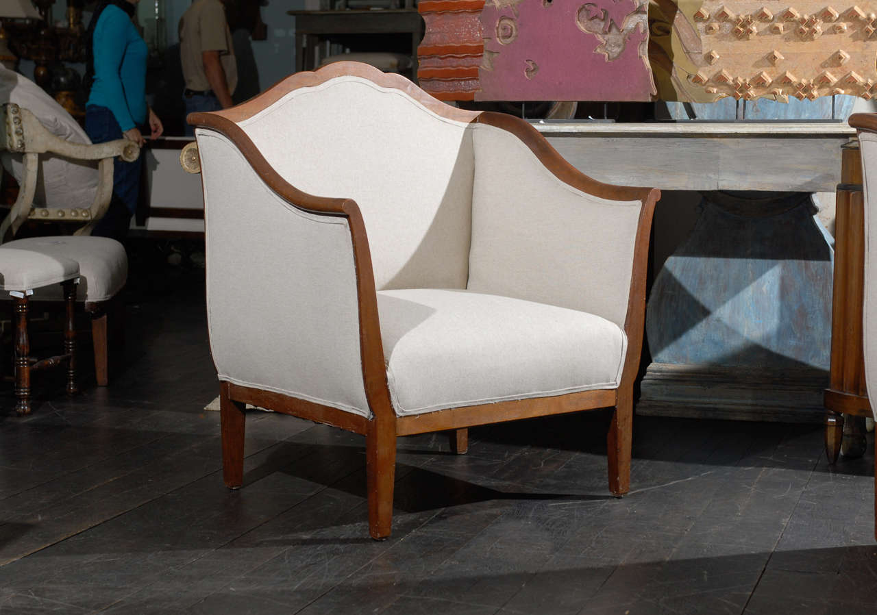 Single Italian Walnut Upholstered Club Armchair/Accent Chair in Brown and White 2