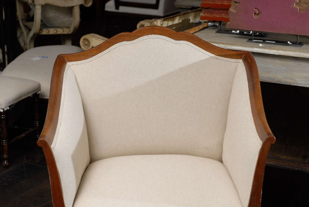 Single Italian Walnut Upholstered Club Armchair/Accent Chair in Brown and White 5