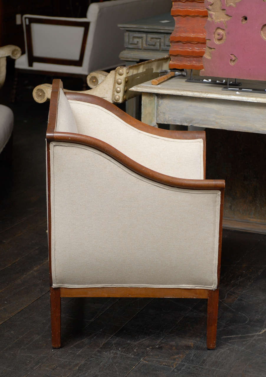 Single Italian Walnut Upholstered Club Armchair/Accent Chair in Brown and White 8