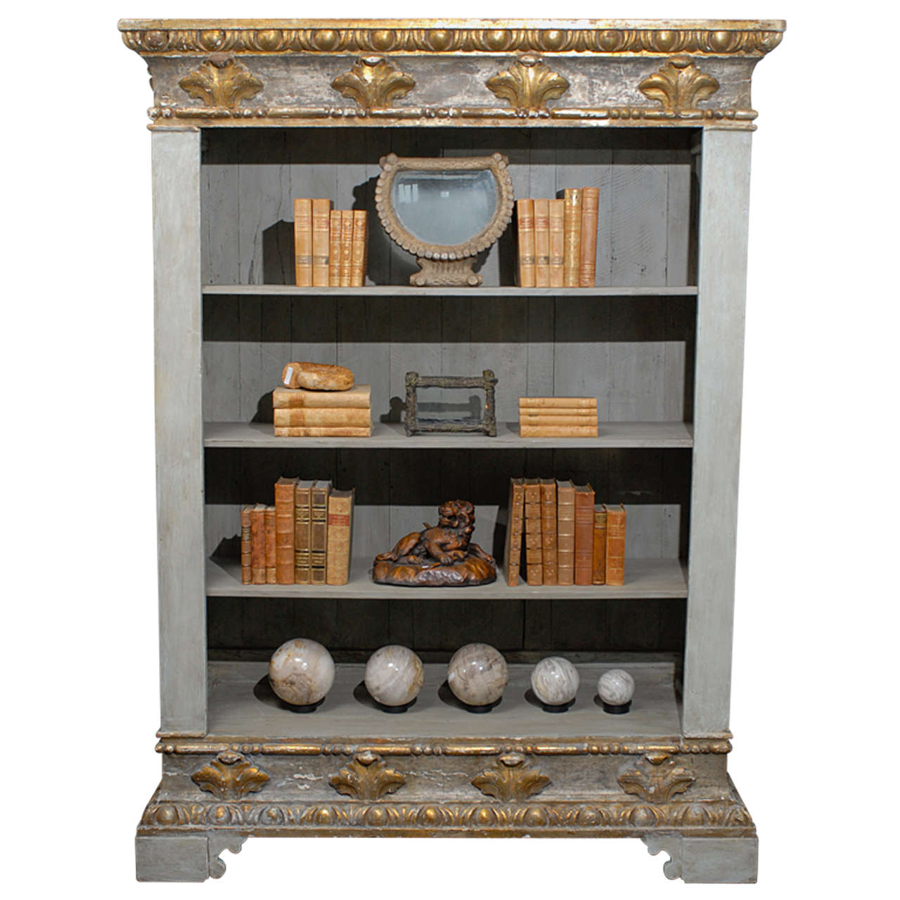 18th Century Italian Painted Wood Bookshelf With Egg And Dart Molding For Sale