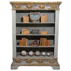 18th Century Italian Painted Wood Bookshelf with Egg and Dart Molding