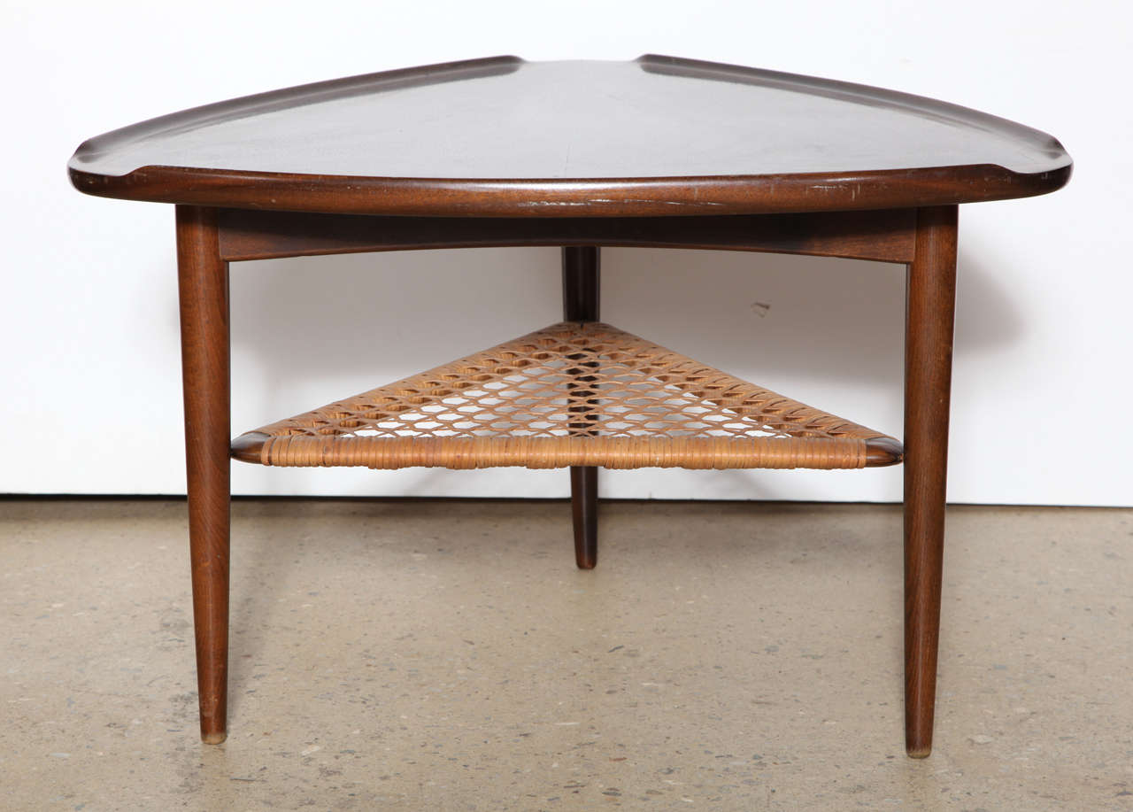 Triangular Guitar Pick Shaped Table By Poul Jensen Beautiful Walnut Grain On Top With Teak