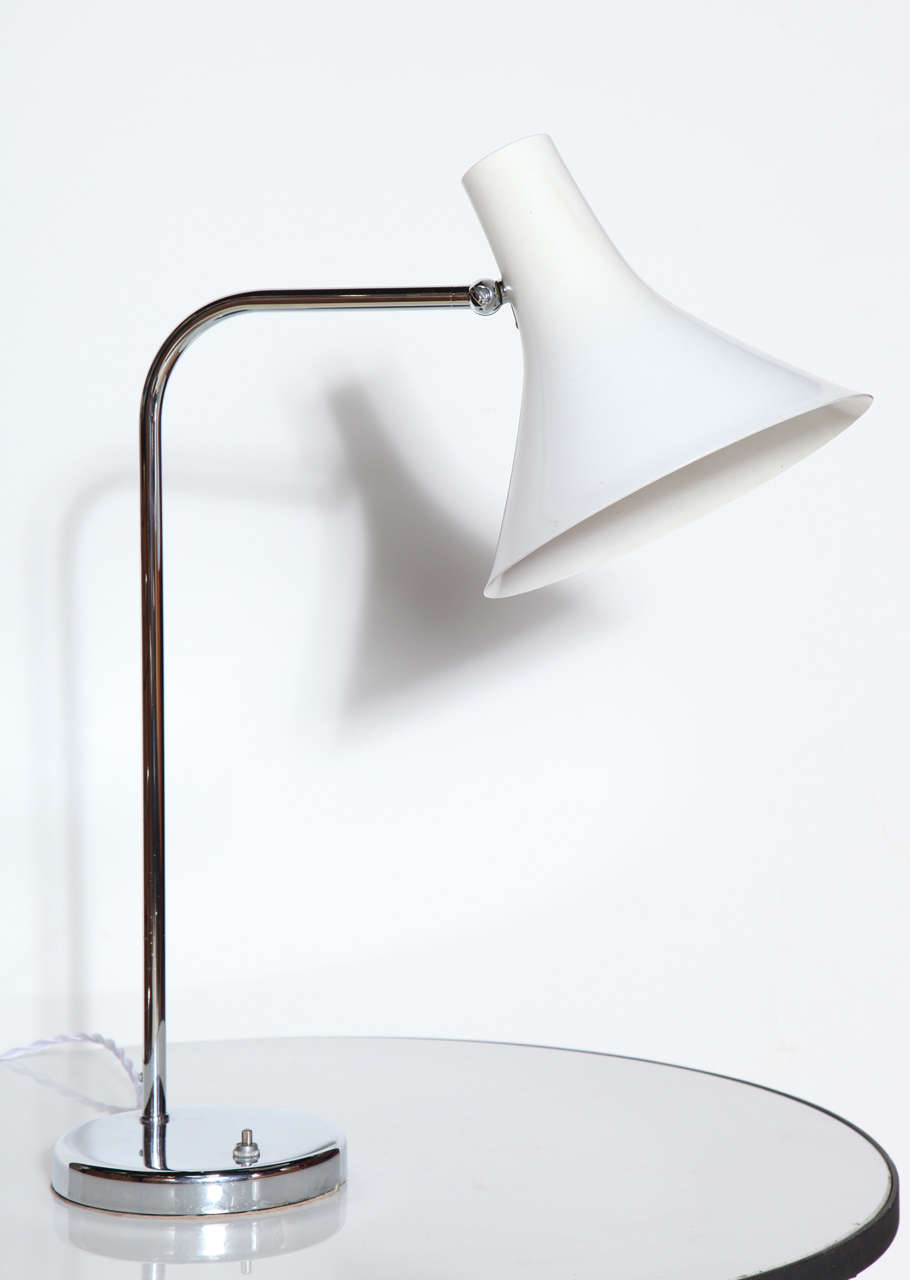 Nessen Studios NS966 Chrome Desk Lamp with White Enamel Shade 3