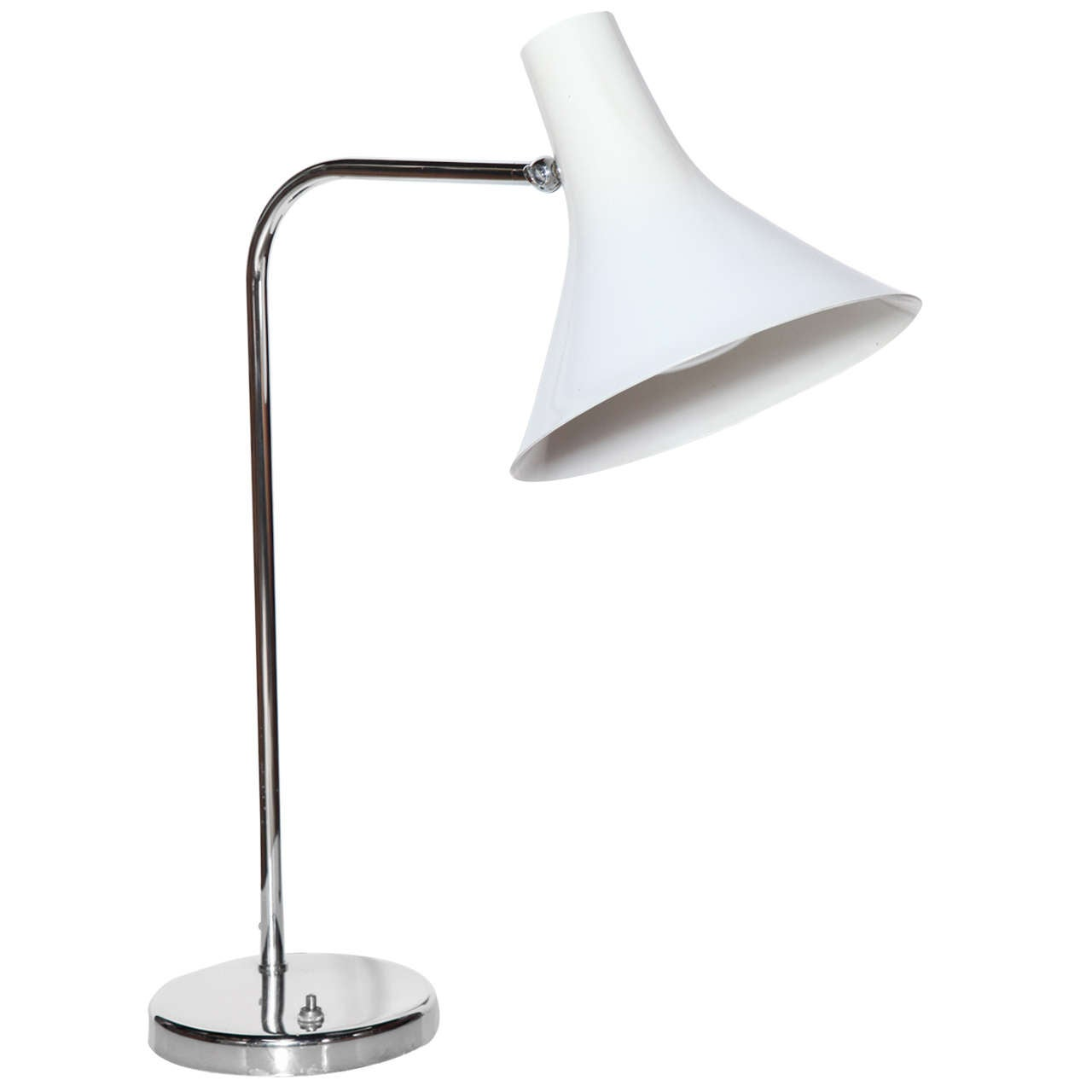 Nessen Studios Classic Chrome Desk Lamp with White Enamel Shade, Circa 1960
