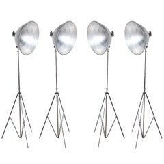 Set of 4 Johnson Ventlite Folding Photo Flood Lamps with Large Aluminum Shades