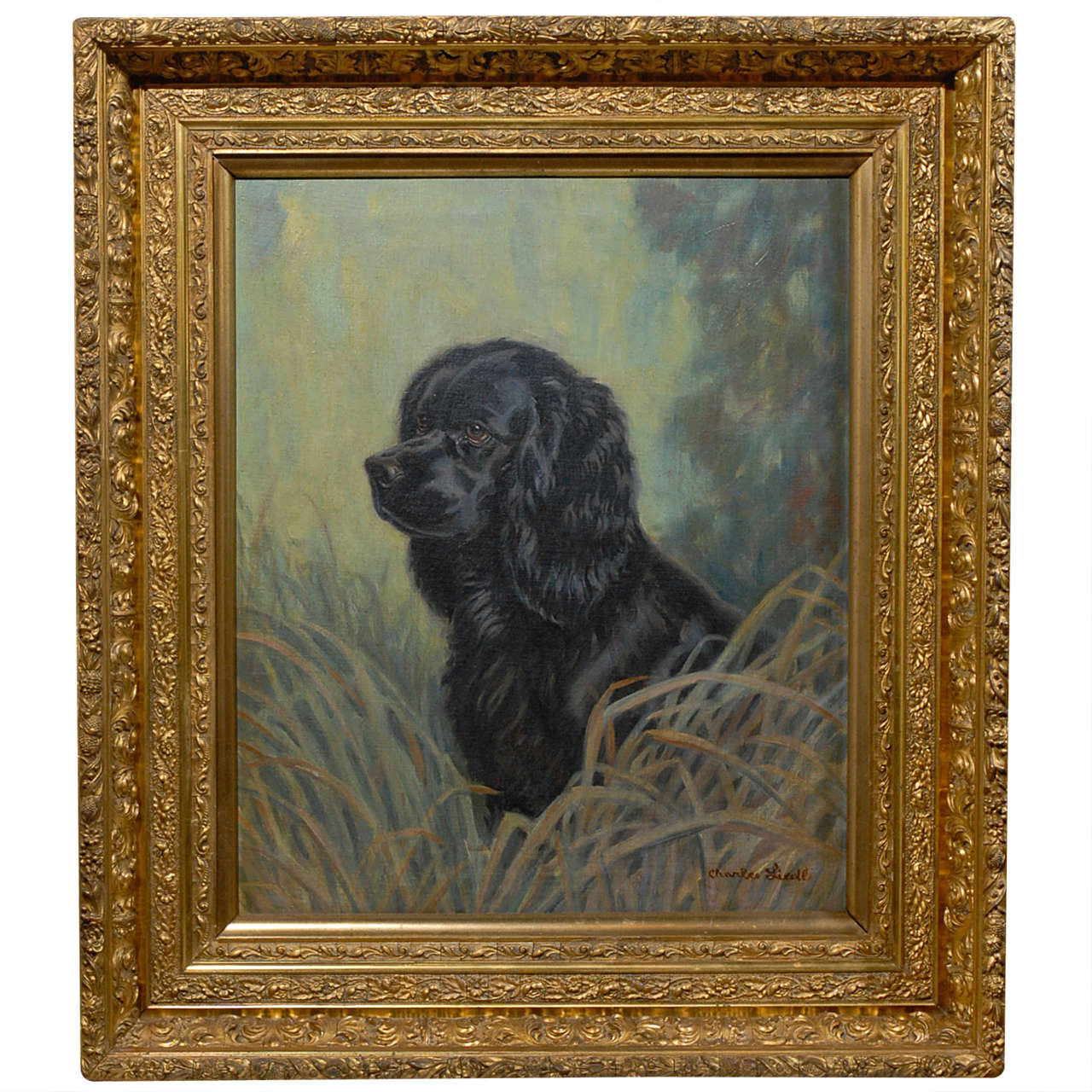 American Oil Painting of Black Dog in Four-Tier Giltwood Frame, circa 1930