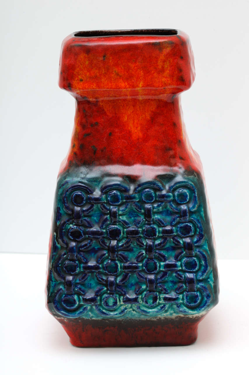 Mid century west german vase by bay keramik at 1stdibs this west german art vase by bay keramik has a beautiful glaze in shades of red reviewsmspy