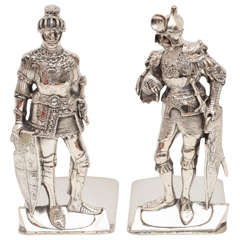 Very Unusual Pair of Silver Plate Medieval Knight Bookends