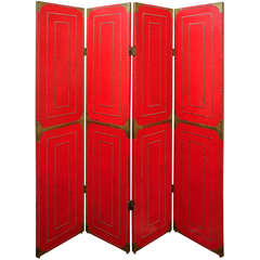 Four Panel Folding Screen in Red Leather and Brass Studs