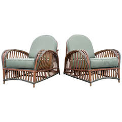 Pair of Stick Wicker Chairs