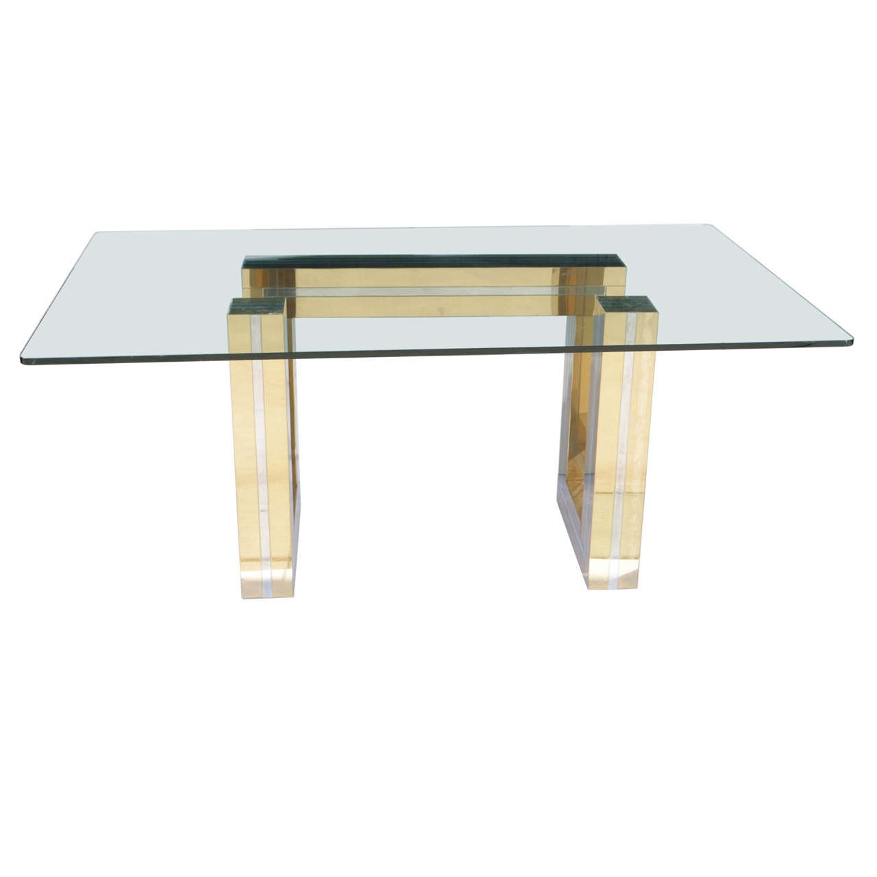 1970s Brass Chrome And Glass Dining Table Attributed To