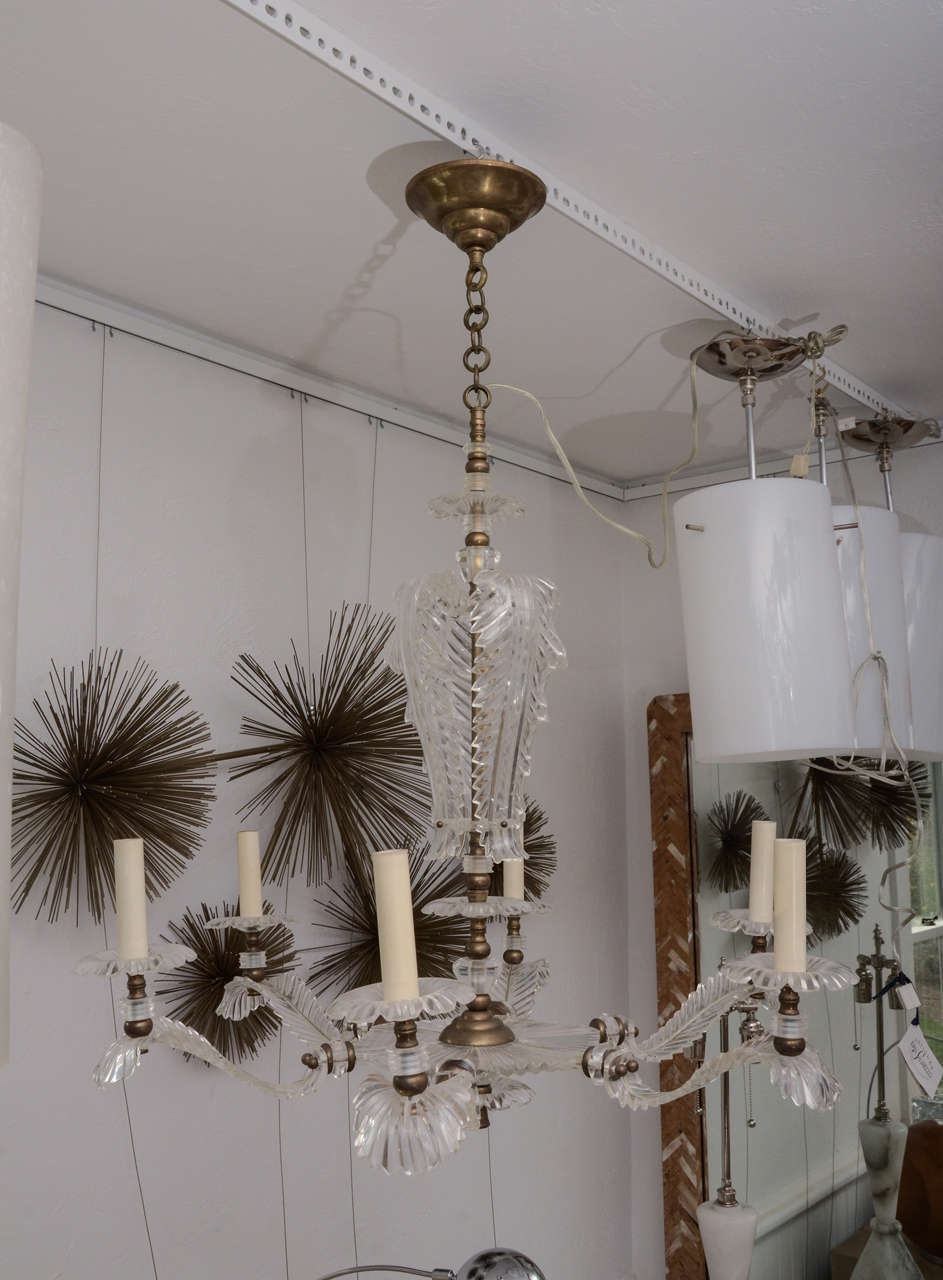 Six Arm Lucite Feather Chandelier In Excellent Condition For Sale In Bridgehampton, NY