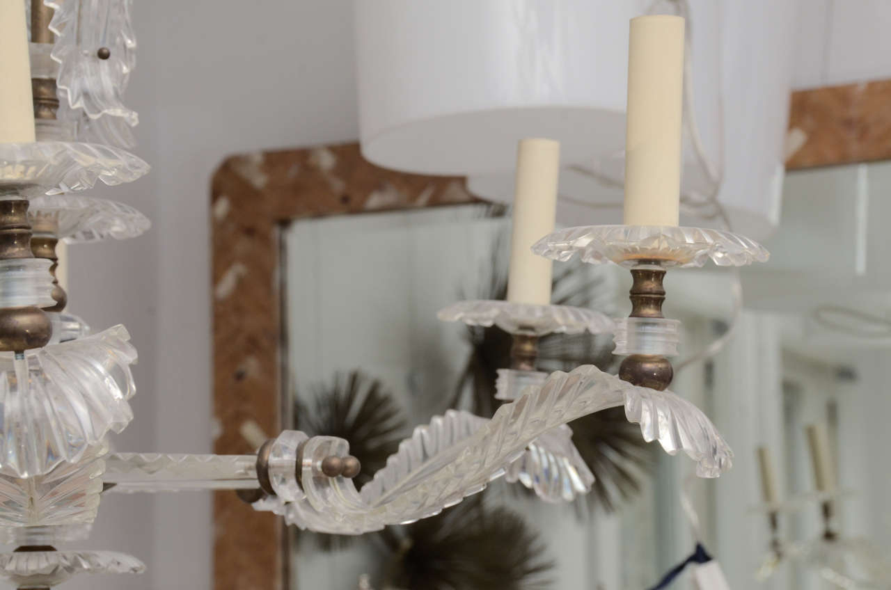 Mid-20th Century Six Arm Lucite Feather Chandelier For Sale