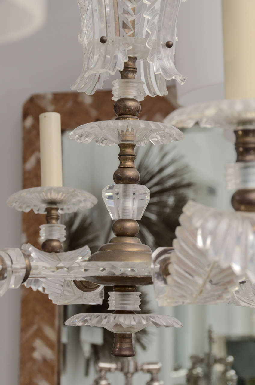 Six Arm Lucite Feather Chandelier For Sale 1