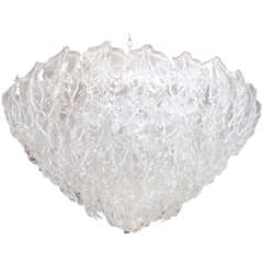 "Elegant Murano Glass Leaves Chandelier in the Style of Venini (39"" diameter)"